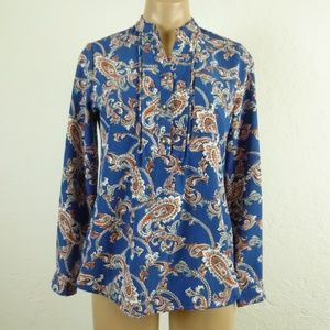 NY Collection Blouse PXS Blue Paisley Henley